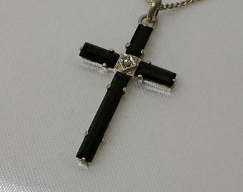 Pendant cross silver 835 Art Nouveau Onyx Marcasite SK108