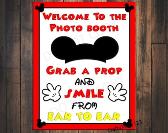 Mickey Mouse Birthday party, Mickey mouse, Photo booth props, Mickey mouse birthday, decorations, Instant Download - 8x10