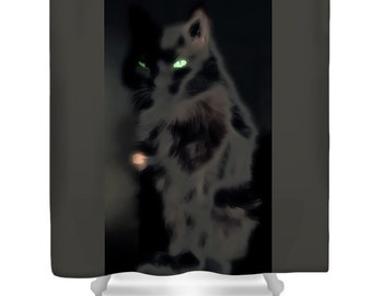 Black Cat Shower Curtain Green Eyes Black Cat Bathroom Curtain Bathroom Decor Shower