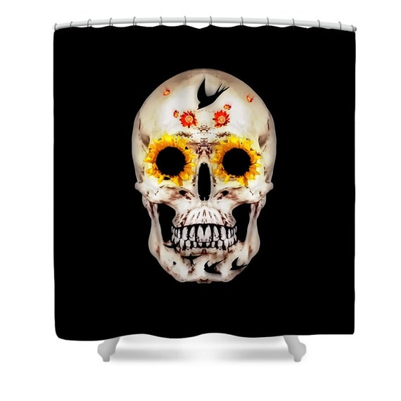 Day Of The Dead Bathroom Set: Sugar Skull Shower CurtainSkullSunflowers SparrowsDay Of