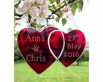 Hand crafted stained glass Personalised red linked hearts Wedding Gift