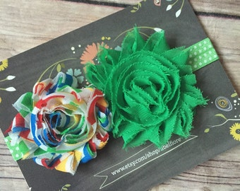 0-3 Months Headband, Green Polka Dot Shabby Flower Headband, Shabby Flower Headband, Newborn Baby Infant Headband, Flower Headband