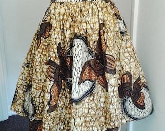 Samantha Gold and Black Butterfly African Wax High Waist Dirndl Skirt - One of a kind