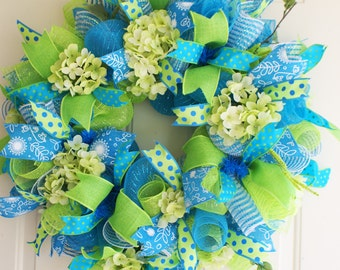Summer Deco Mesh Wreath, Turquoise and Green Summer Deco Mesh  Wreath, Turquoise Summer Door Decor, Turquoise and Green Hydrangea Wreath,