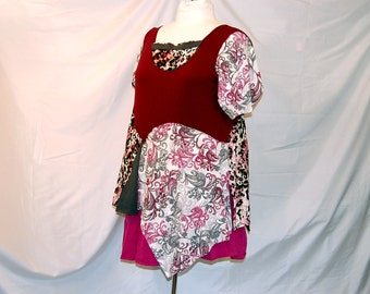 3X 4X 5X plus size tunic burgundy gray pink boho romantic indie lagenlook trendy eco clothing restyled refashioned upcycled altered unique
