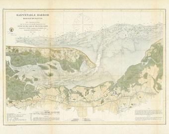 Barnstable Harbor Nautical Chart 1861