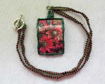Handmade reclaimed flower garden necklace