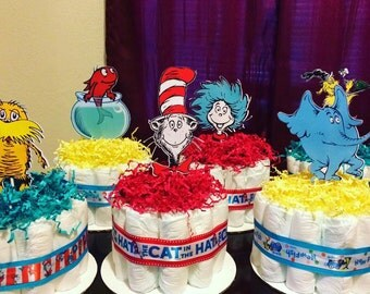 Seuss Inspired Diaper Cakes- I can do any theme!