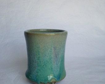 Turquoise  Yunomi Tea cup, Japanese Tea Cup, Ceramic Tea Cup, Handmade TQZS