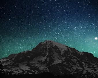 Mountain Art, Fine Art Photography Print, Wall Art, Mountain, Pacific Northwest, Sky, Stars, Starry Night