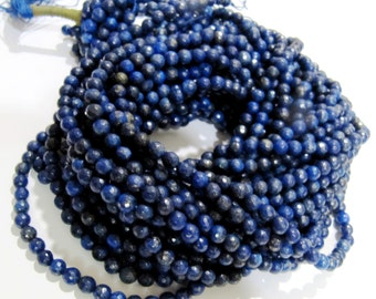 SALE 50 Percent- Best Quality Lapis Lazuli Round faceted Beads / Size 6mm / String 15 inch Long / Amazing Quality Real Lapis Lazuli Beads