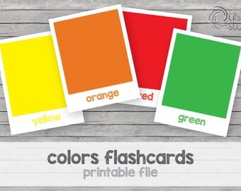 Printable kid's colors flashcards, english