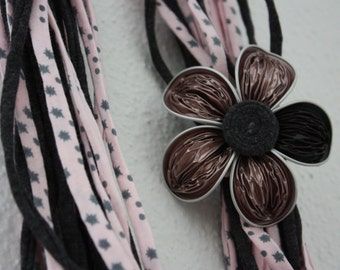 Spring pink and grey necklace