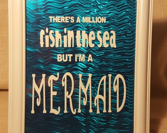 Upcycled Picture Frame White/Blue with Mermaid Quote