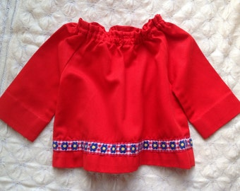Retro red cotton smock top for toddler, with pretty braid, elastised neck, handmade.