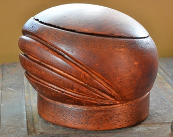 Wooden hat mold, wooden hat block, millinery, wooden hat form