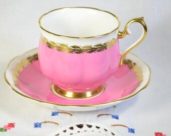 Royal Albert tea cup and saucer/ pink tea cup/ hot pink tea cup