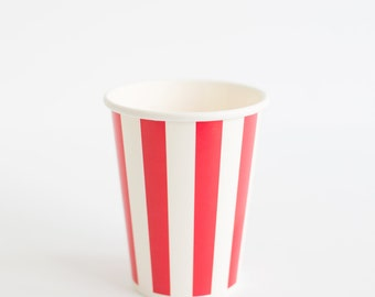 10 Vertical red stripes paper cups 9oz
