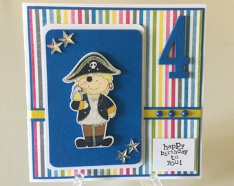 Handmade pirate birthday card