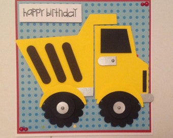 Handmade dump truck birthday card