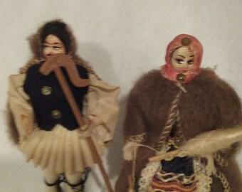 "Vintage Eskimo folks village dolls native folks 6"""
