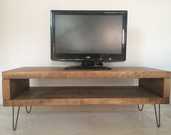 Rustic Industrial Plank TV Unit Stand with Metal Hairpin Legs - chunky wood vintage retro