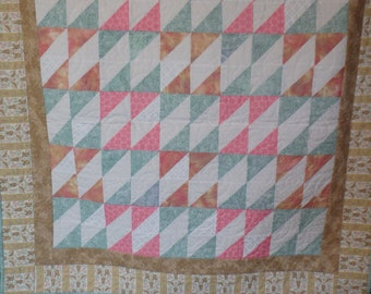 baby quilt, baby girl quilt, crib size quilt, pink and green quilt