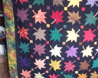 autumn quilt, leaf quilt, double size quilt, couch quilt, autumn decor, fall decor, fall quilt, gifts for men, gifts for women, wedding gift