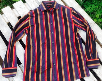 70's Mens BOLD STRIPED FAB,Funky,Long Sleeve Mens Casual,Hipster,Hippie, Dress Shirt size small
