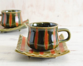 Beautiful Japanese Mino Ware Cup and Saucer Tokusa pattern Coffee tea Ceramic Pottery