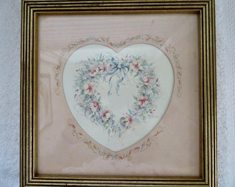 Vintage Home Interior Vintage Watercolor Vintage Print Margie Whittington Shabby Chic Heart Painting Heart Print Home Decor