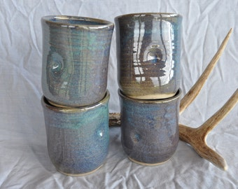 Blue Gray Tumbler Set, Ceramic Tumblers, North Carolina Pottery
