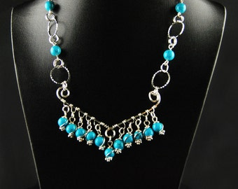 Silver Necklace in Turquoise
