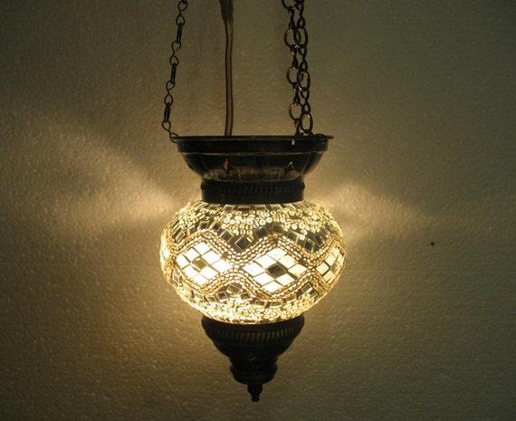 white glass hanging mosaic turkish light lampe by meryemart. Black Bedroom Furniture Sets. Home Design Ideas