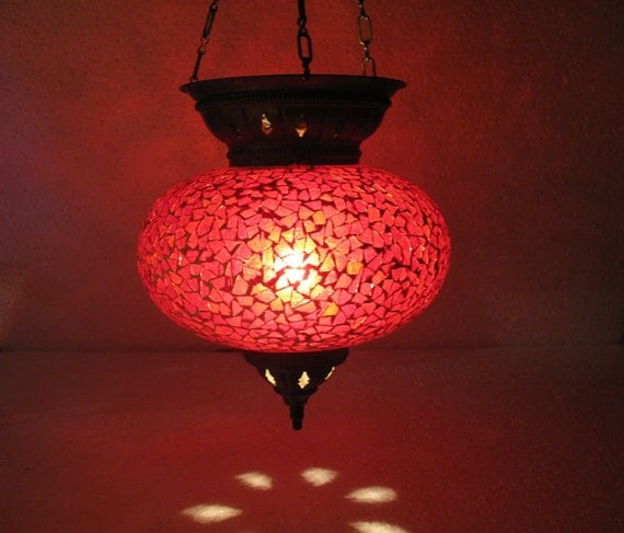 red mosaic glass hanging lamp lampe mosaique night by. Black Bedroom Furniture Sets. Home Design Ideas