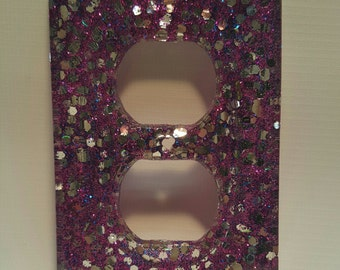 Purple and Silver Glitter Outlet Cover