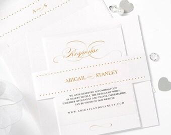 Gold wedding invitation set Sample, Gold invitation, or any colours, Mr & Mrs, Personalised Sample pearlescent, belly band, envelope liner
