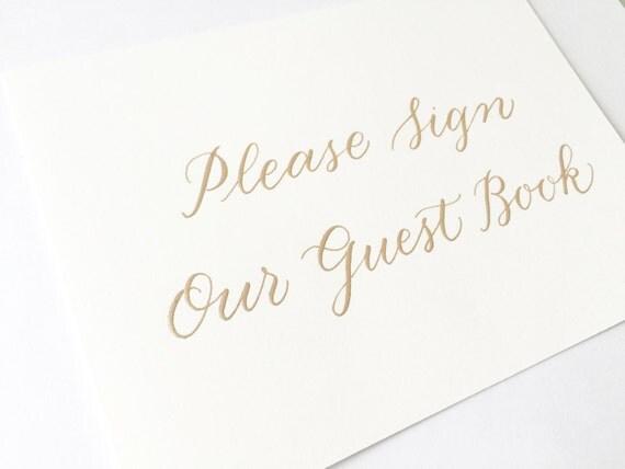 Guest Book Sign Modern Calligraphy Customized Handwritten