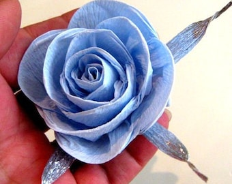 12 blue silver crepe paper flowers rose DIY dekor Wall arch paper backdrop boy baby bridal Shower wedding flowers CENTERPIECE candy buffet