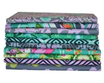 10 Amy Butler Fat Quarters-Scrappy Quilt Fabric-Violette Fabric-Quilting Fabric Scraps-Shabby Chic Fabric