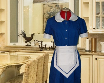 Blue And White Retro Diner Waitress Uniform DRESS Hostess Pinup Halloween Costume Custom Made