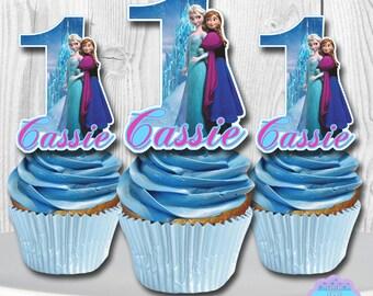 Disney Frozen Cupcake Topper, Cupcake Picks PERSONALIZED DIGITAL FILE, You Print