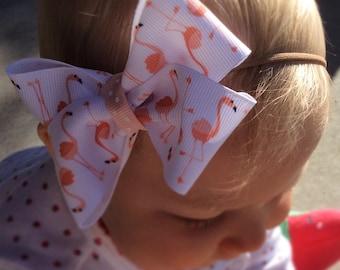 flamingo baby headband, flamingo baby clothes, baby headbands and bows, nylon baby headband,baby bib sets, baby bow sets, baby headband bow