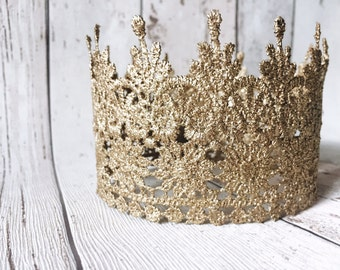 Golden Lace 'Sophie' Crown. Perfect Cake Topper Or Newborn Photo Prop.