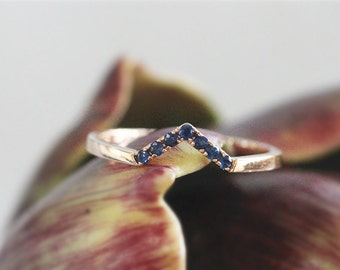 14K Rose Gold Wedding Band Sapphire Wedding Band Sapphire Engagement Band Wedding Ring Engagement Ring Anniversary Gift