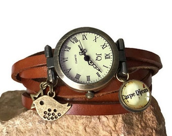 wrap Around Watch ,leather Wrap Watch ,watch women,brown Leather Wrap Watch ,carpe diem / bird