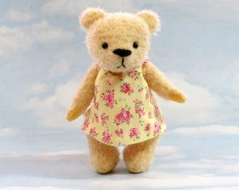 Artist MOHAIR Teddy Bear 'Lemony Lou' yellow OOAK hand crafted - My Bear Foot Bears
