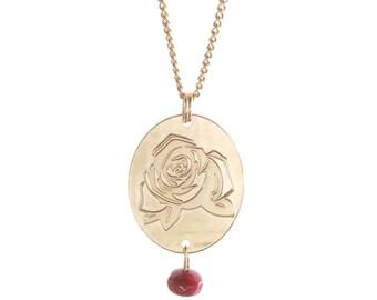Rose long necklace, long floral necklace, raw jade, bordeaux necklace, subtle long necklace, red rose pendant, joyful jewelry, joyful gift