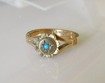 9ct Gold Turquoise Star Ring