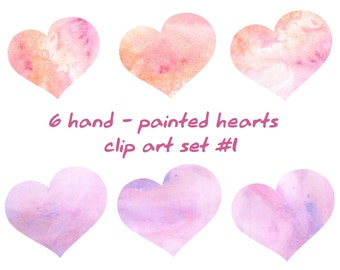 Watercolor heart clipart, watercolor pink rose heart clip art